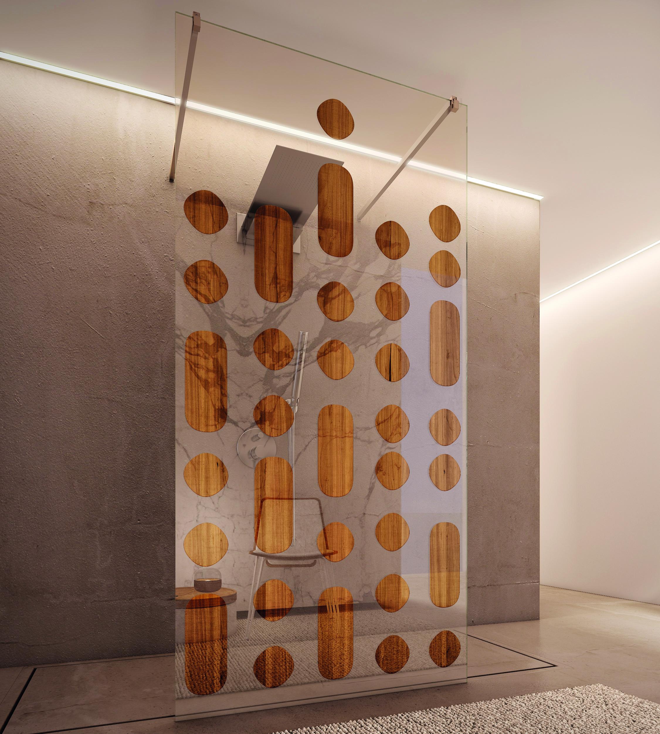 Vidrio decorado con madera natural